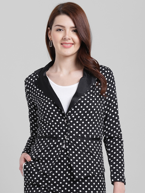 Texco Women Black & White Printed Slim Fit Single-Breasted Casual Blazer