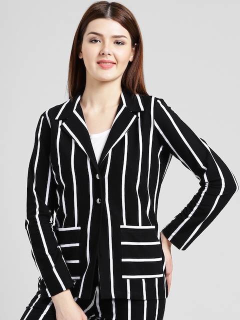 Texco Women Black & White Striped Slim Fit Single-Breasted Formal Blazer