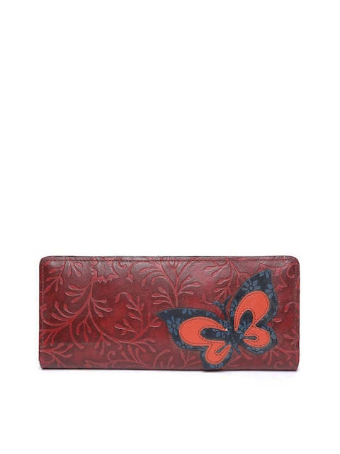 Holii Women Maroon Leather Textured Two Fold Wallet