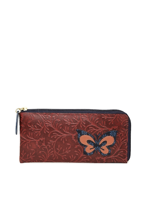 Holii Women Maroon Leather Textured Zip Around Wallet