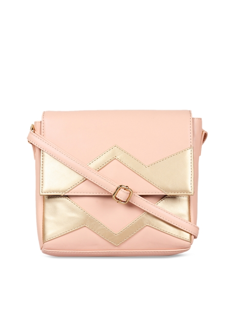 3 Mad Chicks Pink & Gold-Toned Colourblocked Sling Bag