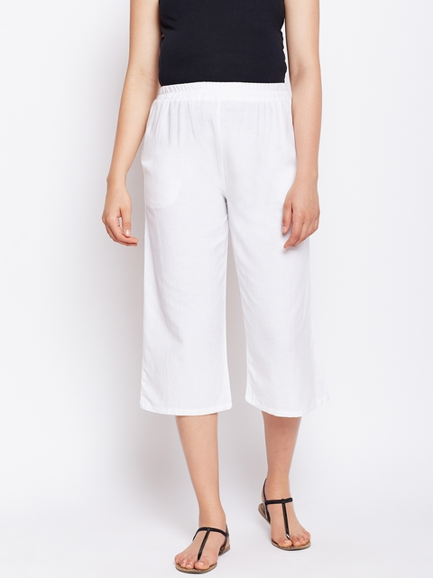 Oxolloxo Women White Solid Elasticated Maternity Culotte