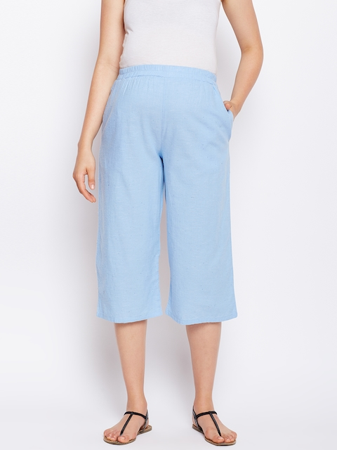 Oxolloxo Women Blue Solid Elasticated Maternity Culotte