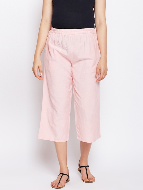 Oxolloxo Women Pink Solid Elasticated Maternity Culotte