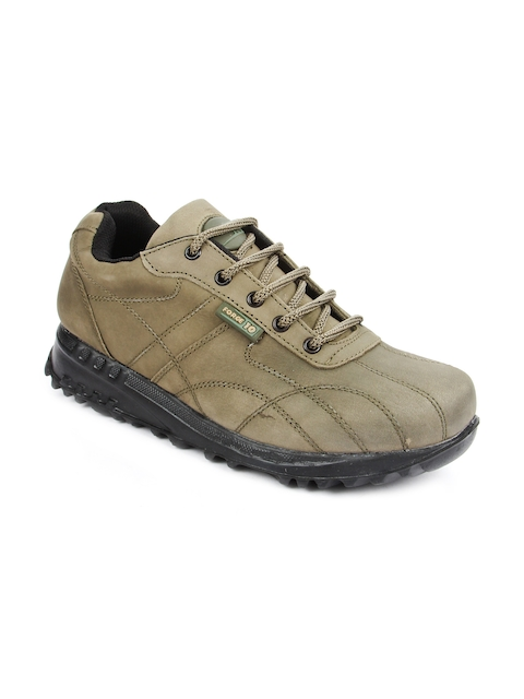 Force 10 Men Olive Leather Trekking Shoes