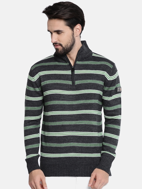 Akiva Men Charcoal Grey & Green Striped Pullover