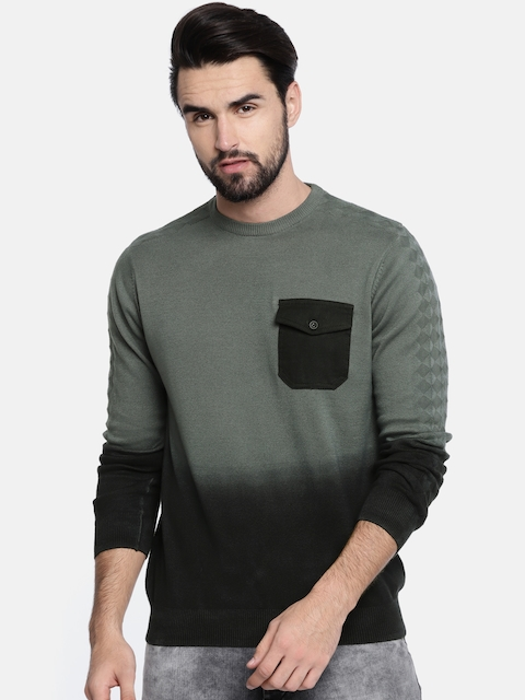 Akiva Men Black & Grey Ombre-Dyed Pullover