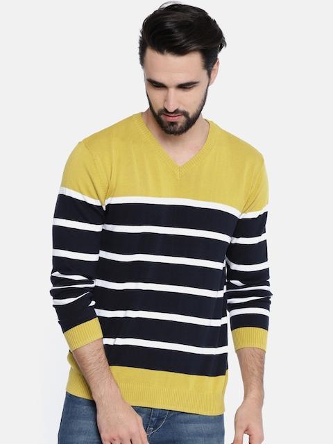 Akiva Men Navy Blue & Yellow Striped Pullover