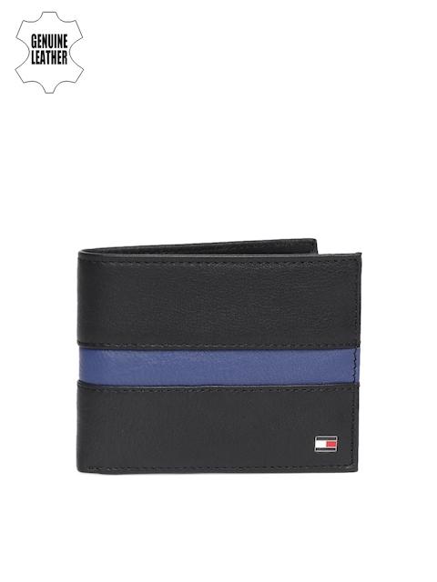Tommy Hilfiger Men Black & Blue Colourblocked Genuine Leather Two Fold Wallet