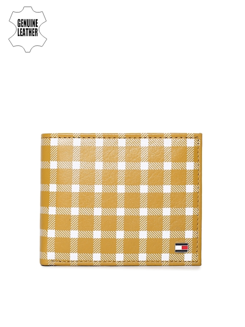 Tommy Hilfiger Men Camel Brown Checked Two Fold Wallet