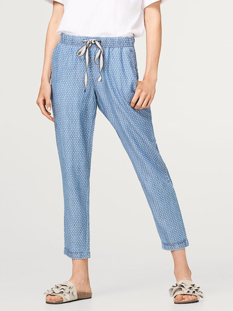 ESPRIT Women Blue & White Regular Fit Printed Chambray Trousers