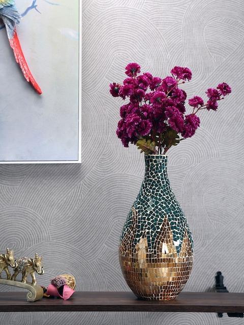 Athome by Nilkamal Green & Beige Glass Mosaic Vase
