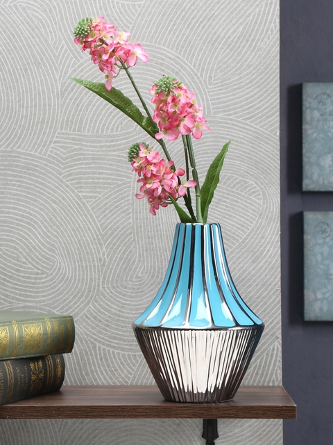 Athome by Nilkamal Blue & Silver-Toned Ceramic Vase