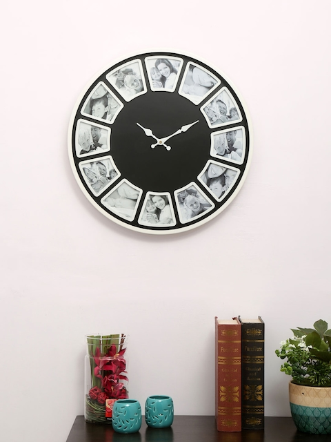 Athome by Nilkamal Black & White Photo Frame Round Textured Analogue Wall Clock