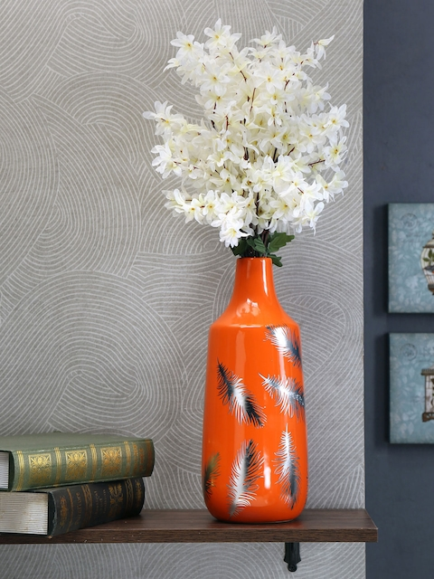 Athome by Nilkamal Orange & White Printed Ceramic Vase