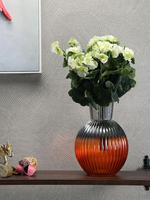 Athome by Nilkamal Orange & Silver-Toned Ceramic Vase