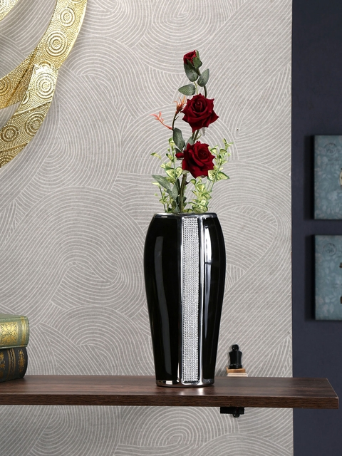 Athome by Nilkamal Black & Silver-Toned Embellished Ceramic Vase