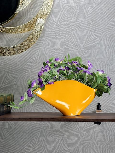 Athome by Nilkamal Yellow & Black Ceramic Vase