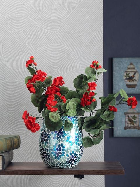 Athome by Nilkamal Sea Green Mosaic Glass Vase