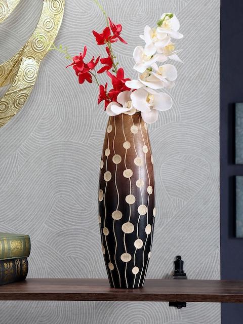 Athome by Nilkamal Brown Self-Design Wooden Vase