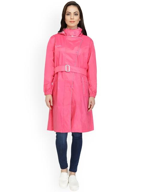 Zeel Pink Knee Length Rain Jacket