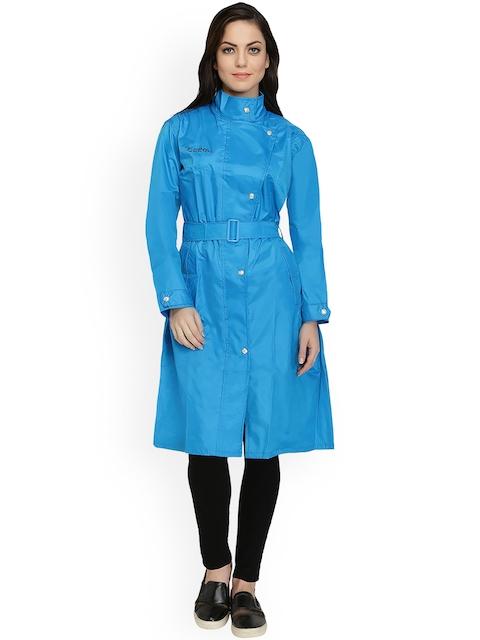 Zeel Blue Knee Length Rain Jacket