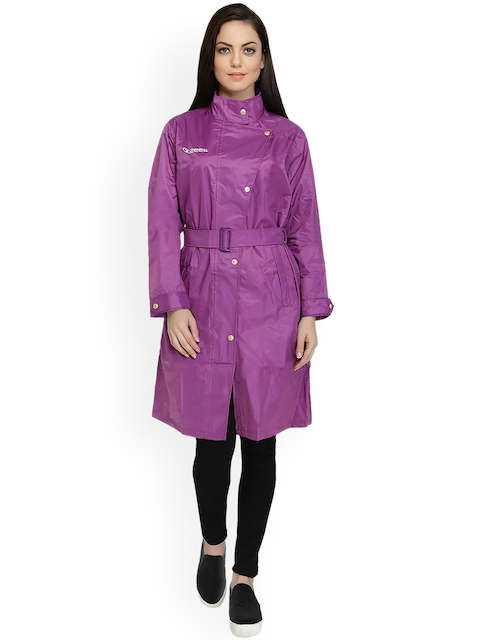 Zeel Purple Knee Length Rain Jacket