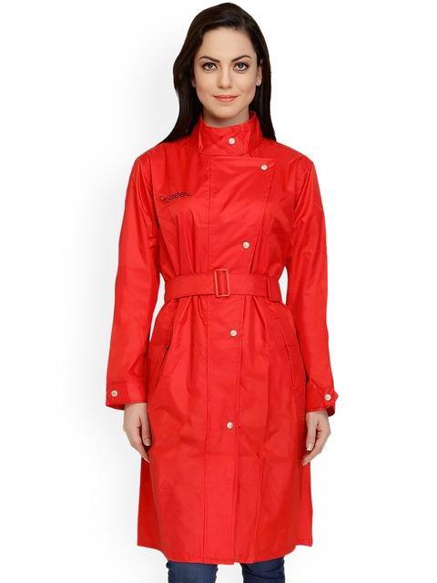 Zeel Red Knee Length Rain Jacket