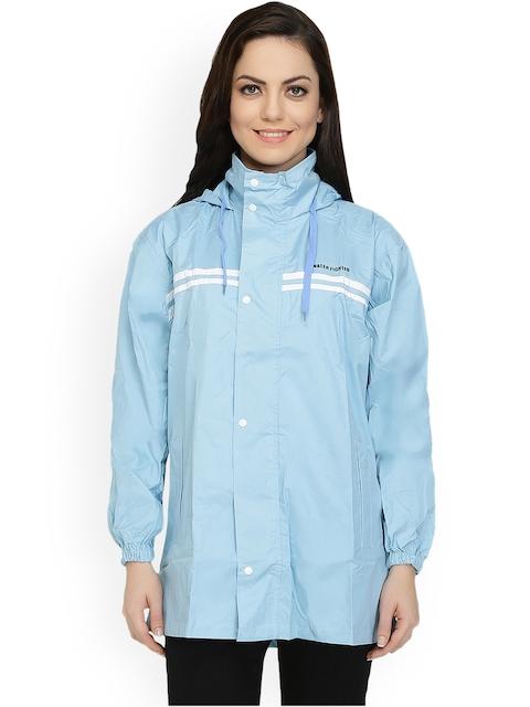 Zeel Blue Hooded Rain Jacket