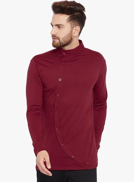 CHILL WINSTON Men Maroon Solid High Neck T-shirt