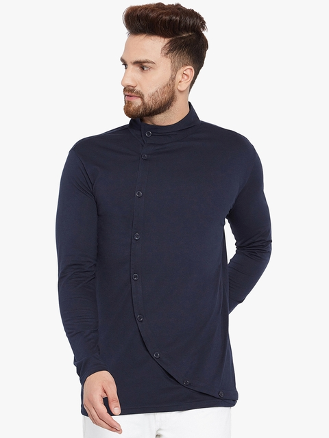 CHILL WINSTON Men Navy Blue Solid High Neck T-shirt