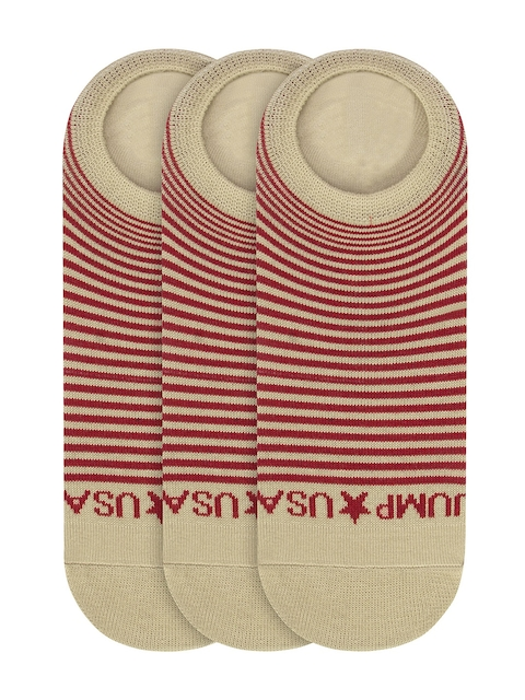 JUMP USA Women Pack of 3 Beige & Red Striped Shoe Liners