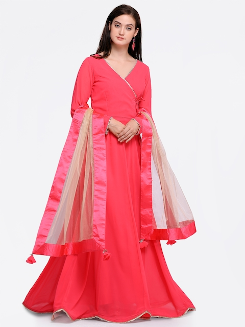 Inddus Pink Poly Georgette Semi-Stitched Dress Material