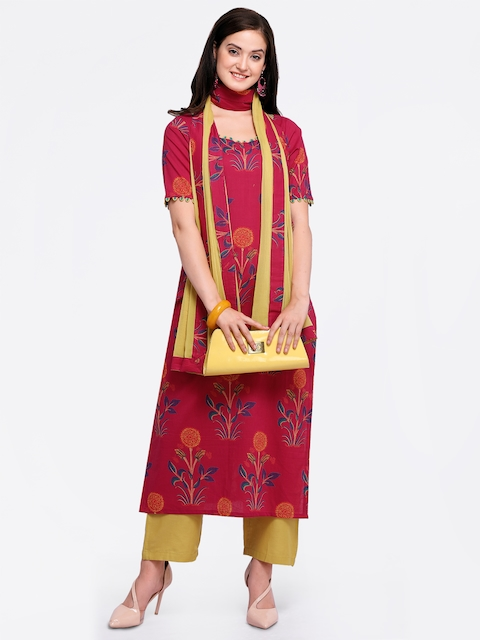 Inddus Pink & Yellow Cotton Blend Semi-Stitched Dress Material