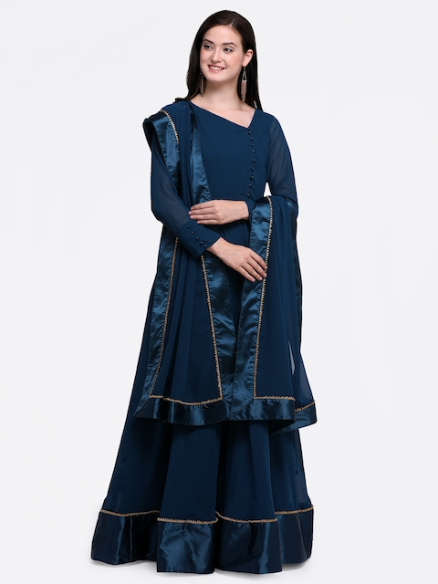 Inddus Navy Blue Poly Georgette Semi-Stitched Dress Material