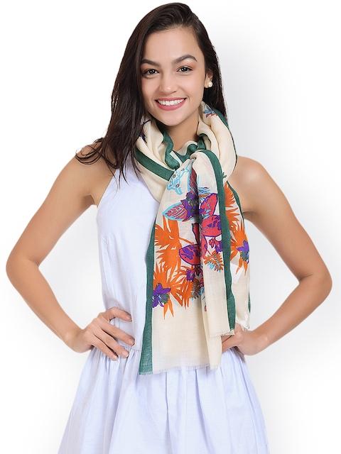 SHINGORA Women Off-White & Green Printed Woollen Stole