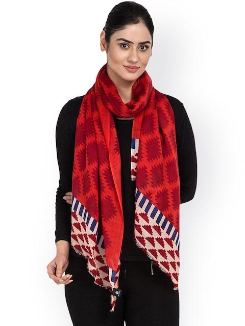 SHINGORA Women Red Printed Woollen Stole