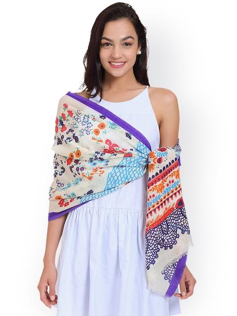 SHINGORA Women Off-White & Purple Printed Woollen Stole