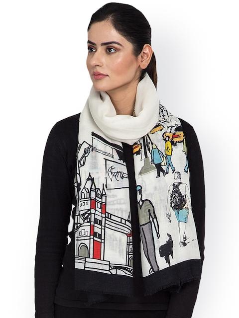 SHINGORA Women Off-White & Black Woollen Printed Stole