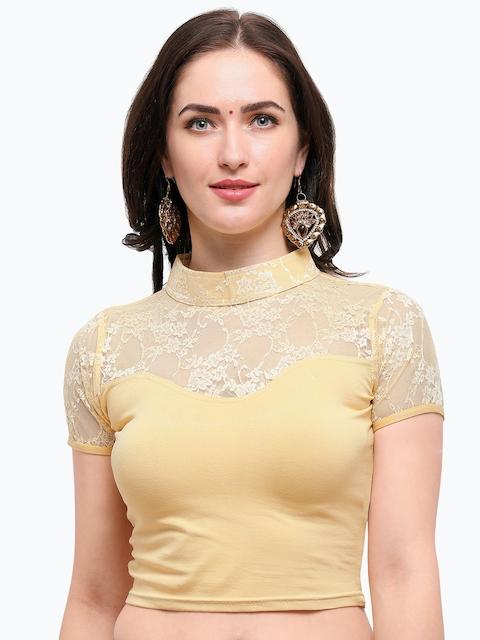 Janasya Women Beige Woven Design Saree Blouse