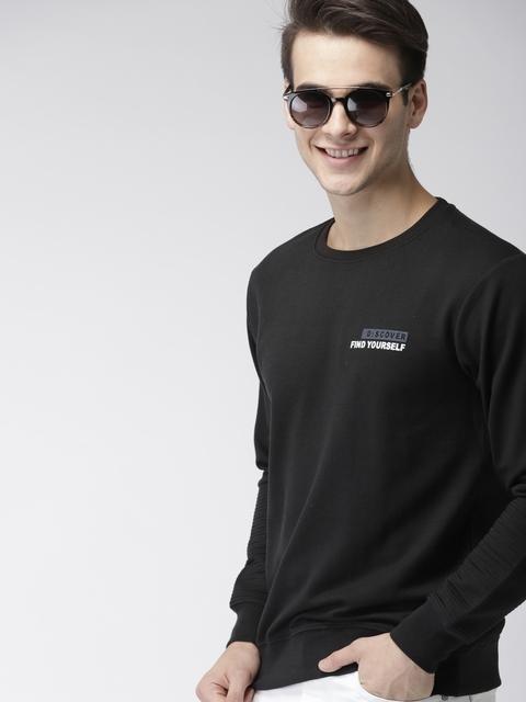 Mast & Harbour Men Black Printed Sweatshirt