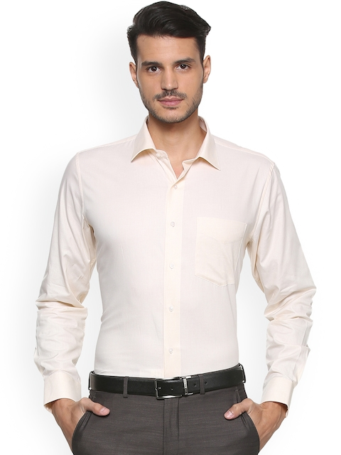 Van Heusen Men Beige & Off-White Slim Fit Checked Formal Shirt
