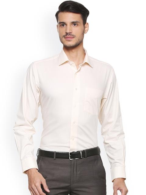 Van Heusen Men Beige & Off-White Regular Fit Checked Formal Shirt
