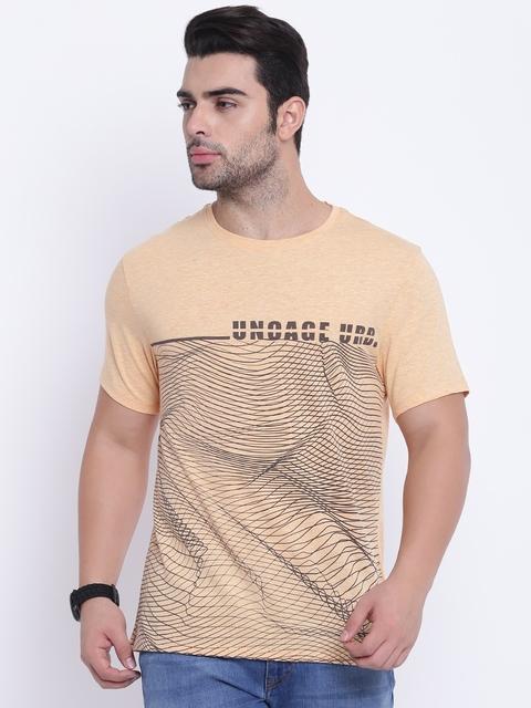 Blackberrys Men Orange Printed Round Neck T-shirt