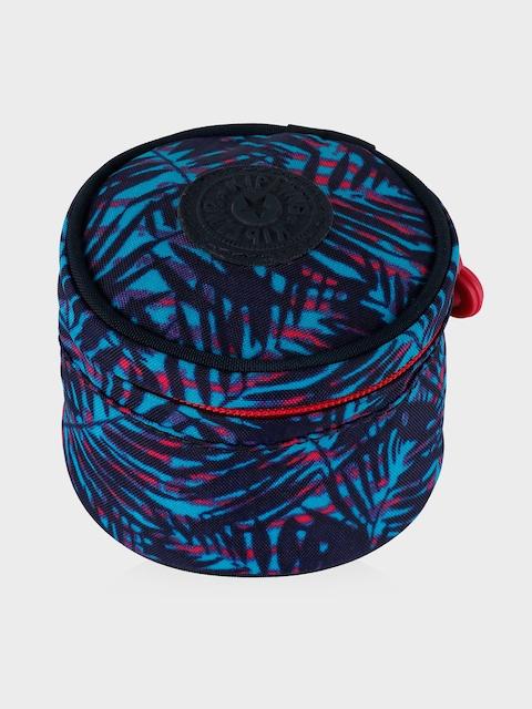 Kipling Unisex Black & Blue Printed Round Travel Pouch