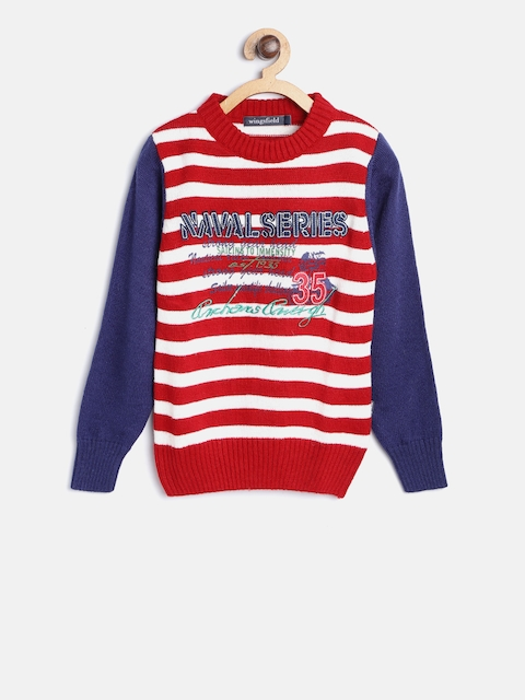 Wingsfield Boys Red & White Striped Pullover