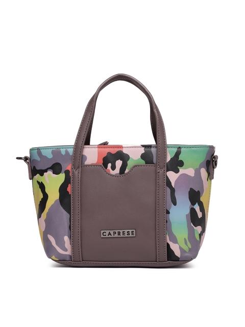 Caprese Grey & Black Printed Handheld Bag