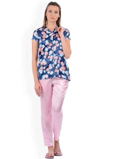 Sweet Dreams Women Blue & Pink Printed Night Suit 276418CA