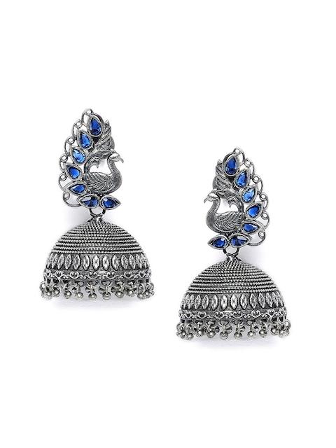 ZeroKaata Silver-Toned Dome Shaped Jhumka Earrings