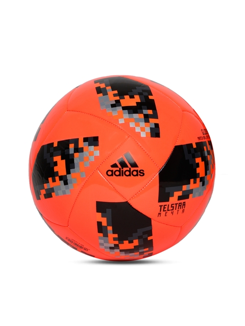 ADIDAS Men Orange & Black World Cup Knockout Glider Printed Football